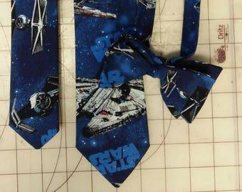 Star Wars Space X Wing Fighter Neckties in bow tie, skinny tie, and standard tie styles, kids or adult sizes