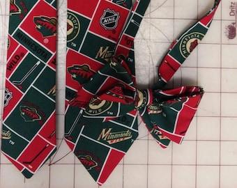 NHL Minnesota Wild Neckties in bow tie, skinny tie, and standard tie styles, kids or adult sizes