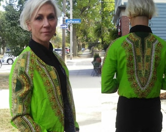 Lime Green Dashiki Unisex Bomber Jacket, Fully Reversible