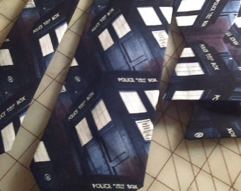 Dr. Who Tardis Neckties in bow tie, skinny tie, and standard tie styles, kids or adult sizes