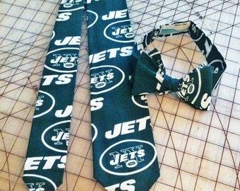 NFL New York Jets football Neckties in bow tie, skinny tie, and standard tie styles, kids or adult sizes