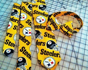 NFL Steelers Neckties in bow tie, skinny tie, and standard tie styles, kids or adult sizes