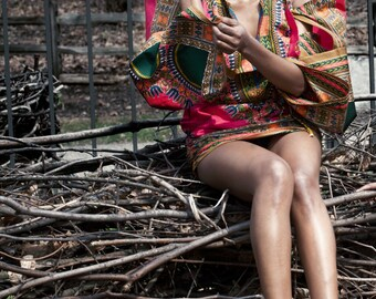 African Dashiki Dress with Kimono Sleeves and Side Ruching