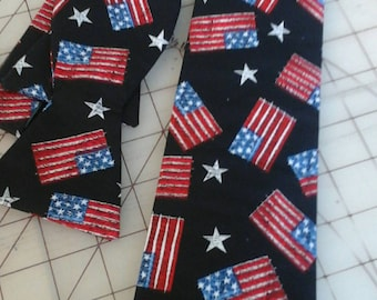 USA Flag Neckties in bow tie, skinny tie, and standard tie styles, kids or adult sizes