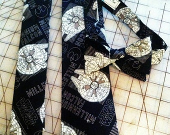 Star Wars Millennium Falcon Neckties in bow tie, skinny tie, and standard tie styles, kids or adult sizes