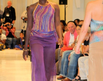 Purple Chiffon Harem Pants with Side Thigh Slits and Jersey Shorts Lining