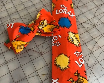 Dr Seuss The Lorax Neckties in Bow Tie, Skinny Tie, or Standard Tie Style, Kids or Adult Sizes