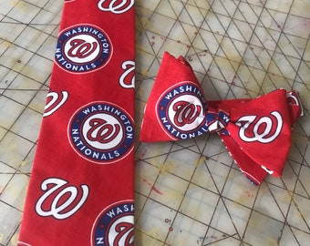 Washington Nationals Neckties in bow tie, skinny tie, and standard tie styles, kids or adult sizes