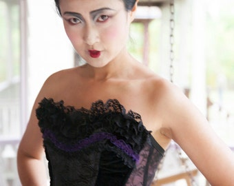 Black Brocade Corset with Purple and Black Lace Trim