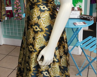 Long Ballet Skirt in Fluid Silky Gold and Green Print with Wrap Closure