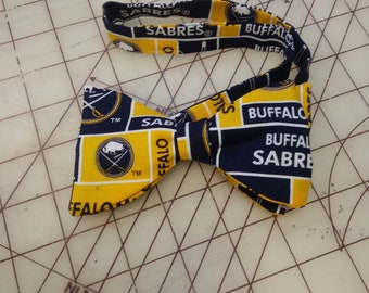 NHL Buffalo Sabres Neckties in bow tie, skinny tie, and standard tie styles, kids or adult sizes
