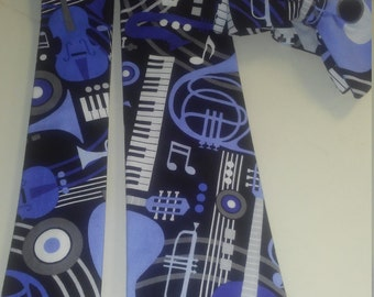 Blue Jazz and Instrument Neckties in skinny tie, and kids bow tie