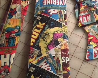 Marvel Avengers Vintage Comic Book Neckties in bow tie, skinny tie, and standard tie styles, kids or adult sizes