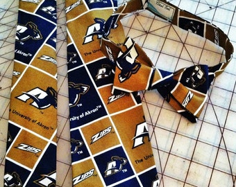 University of Akron Neckties in bow tie, skinny tie, and standard tie styles, kids or adult sizes