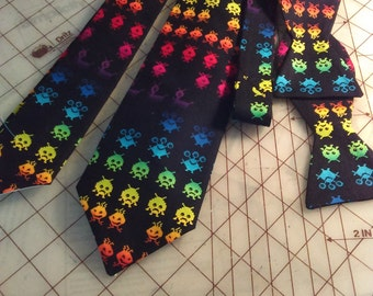 Atari Space Invader Neckties in bow tie, skinny tie, and standard tie styles, kids or adult sizes