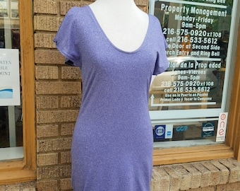 Lavender Performance Knit Dress with Flutter Sleeves and Fitted Shape