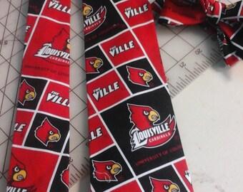Louisville Cardinals Neckties in bow tie, skinny tie, and standard tie styles, kids or adult sizes