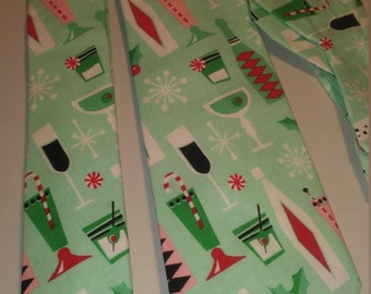 Retro Christmas Cocktail Party Neckties in bow tie, skinny tie, and standard tie styles, kids or adult sizes