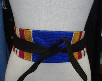 Reversible African Kente Cloth Obi Belt