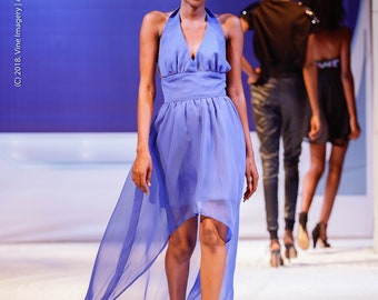 Ethereal Blue Azure Chiffon Dress with Rhinestone Back Chains, in High Low Silhouette and Halter Neckline