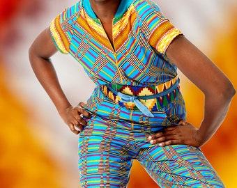 Bright Kente Print Jumpsuit in Wax Block Ankara Cotton