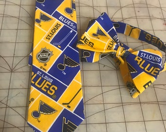 NHL St Louis Blues Neckties in Bow Tie, Skinny Tie, or Standard Tie Style, Kids or Adult Sizes