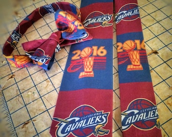 Cleveland Cavaliers Championship Neckties in bow tie, skinny tie, and standard tie styles, kids or adult sizes