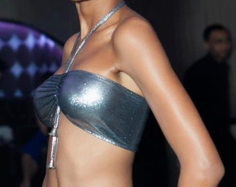 Liquid Silver Bandeau Bikini