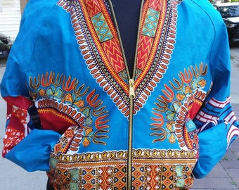 Blue and Red Dashiki Unisex Bomber Jacket, Fully Reversible to Denim and Black