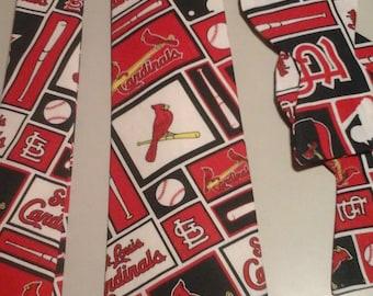 MLB St Louis Cardinals Neckties in bow tie, skinny tie, and standard tie styles, kids or adult sizes