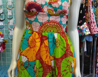 Flirty Seashell Halter Ankara Sundress with Pockets in African Wax Block Cotton