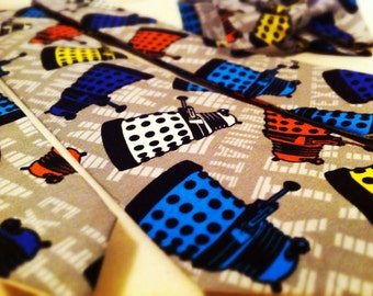 Dr. Who Dalek Neckties in bow tie, skinny tie, and standard tie styles, kids or adult sizes