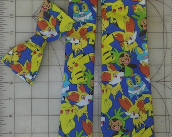 Pokemon Neckties in bow tie, skinny tie, and standard tie styles, kids or adult sizes