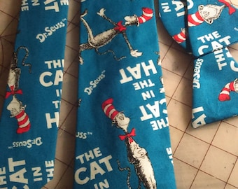Dr. Seuss' The Cat in the Hat Neckties in bow tie, skinny tie, and standard tie styles, kids or adult sizes