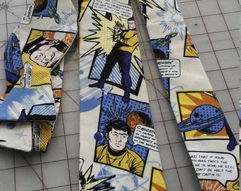 Star Trek Comic Neckties in bow tie, skinny tie, and standard tie styles, kids or adult sizes