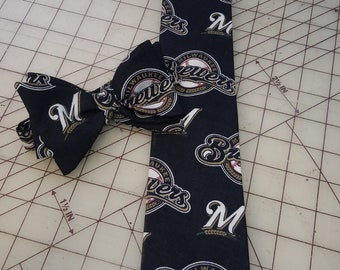 MLB Milwaukee Brewers Neckties in Bow Tie, Skinny Tie, Standard Tie Styles, Kids or Adult Sizes