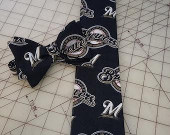 MLB Milwaukee Brewers Neckties in Bow Tie, Skinny Tie, Standard Tie Styles, Kids or Adult Sizes