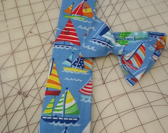 Sailboat Neckties in bow tie, skinny tie, and standard tie styles, kids or adult sizes