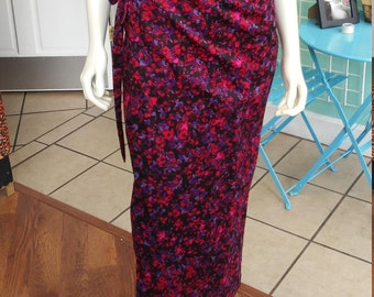 Long Wrap Skirt in Column Silhouette, in Deep Floral Print