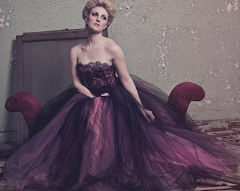 Fantasy Couture Gown in Pink and Black Tulle