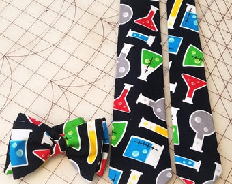 Chemistry Beaker Neckties in bow tie, skinny tie, and standard tie styles, kids or adult sizes