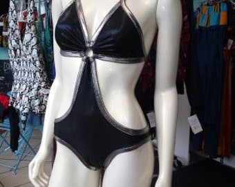 Liquid Black and Silver Monokini