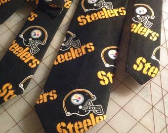 NFL Black  Pittsburgh Steelers Neckties in bow tie, skinny tie, and standard tie styles, kids or adult sizes