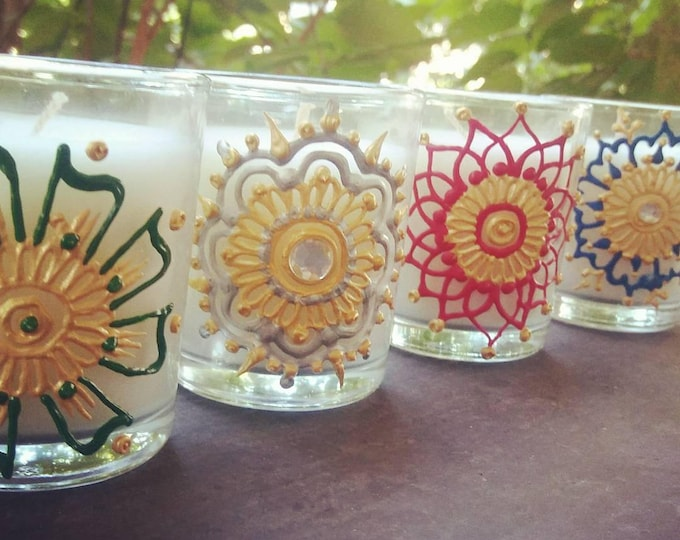 Featured listing image: Mini Votive Candles w/ Hand-Painted Henna Designs