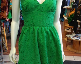 Flirty Halter Sundress in Green Cotton Eyelet Lace