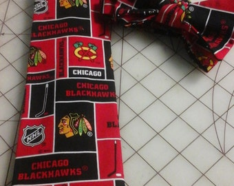 Chicago Blackhawks Neckties in bow tie, skinny tie, and standard tie styles, kids or adult sizes