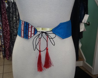 Reversible Tassel Belt in Handwoven African Wax Block Cotton