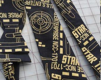 Star Trek Enterprise Black and Gold Neckties in bow tie, skinny tie, and standard tie styles, kids or adult sizes