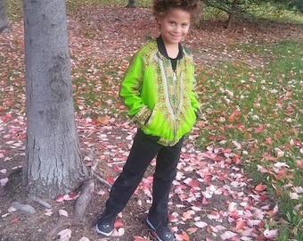 Dashiki Reversible Unisex Kids Lime Bomber Jacket made from Wax Block Cotton
