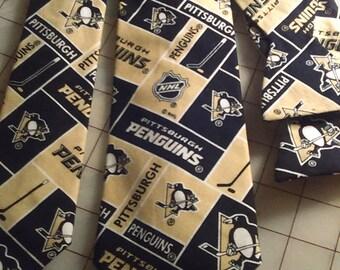 NHL Pittsburgh Penguins Neckties in bow tie, skinny tie, and standard tie styles, kids or adult sizes
